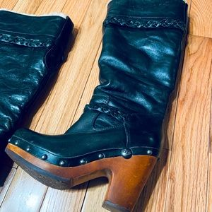 UGG Sherpa Wood Heeled Studded Clog Leather Boot